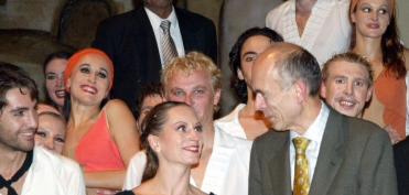 With ballet dancers after the preformance at the Maribor Theatre (October 2005)