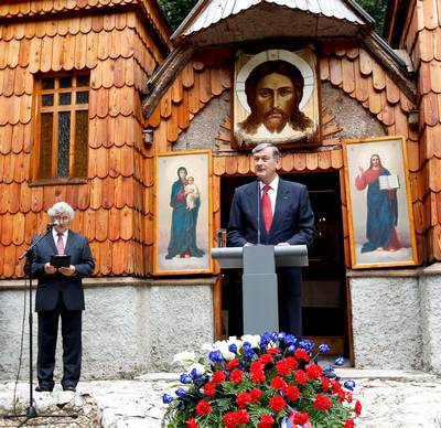 The President of the Republic of Slovenia, Dr Danilo Türk, attends a memorial ceremony at the Russian Chapel at Vršič (photo: Stanko Gruden/STA)