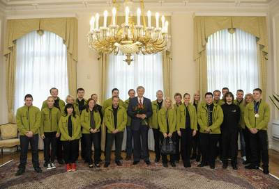 The President of the Republic of Slovenia, Dr Danilo Türk, received the team that represented Slovenia at the European competition in vocational skills, EuroSkills 2012 (photo: Nebojša Tejić/STA)